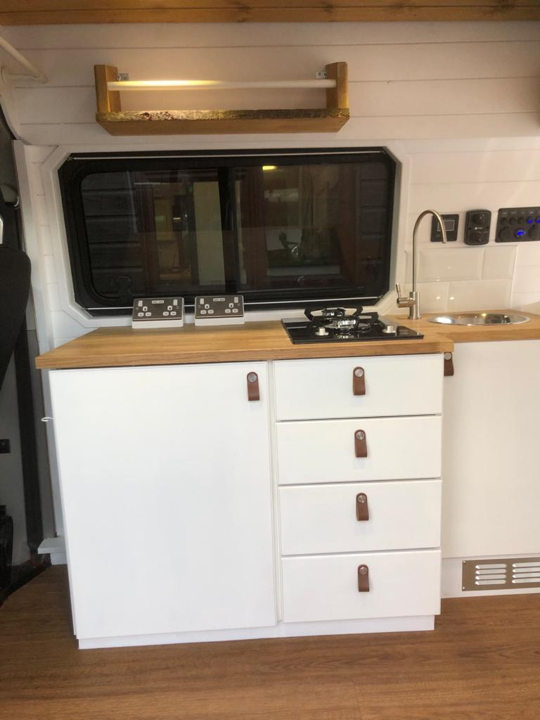 VW T28 Highline kitchen cupboards with leather handles 2 2021