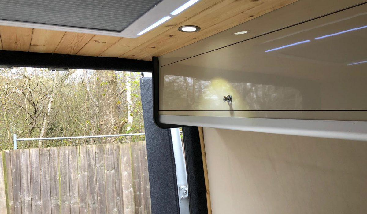 Sprinter Bedroom overhead bespoke storage unit 2021
